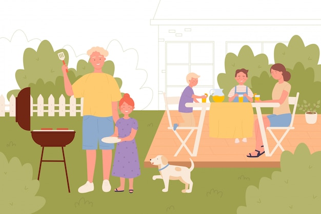 Rodzina Na Podwórku Pinkinu Wpólnie Wektorowej Ilustraci Premium Wektorów