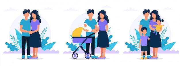 Rodzina Na Różnych Etapach. Młoda Para, Rodzice Z Noworodkiem, Rodzice Z Dziećmi. Premium Wektorów