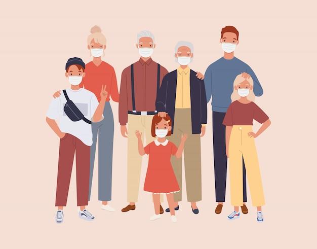 Rodzina Nosi Ochronną Maskę Medyczną, Aby Zapobiec Wirusowi I Zanieczyszczeniu Powietrza. Premium Wektorów