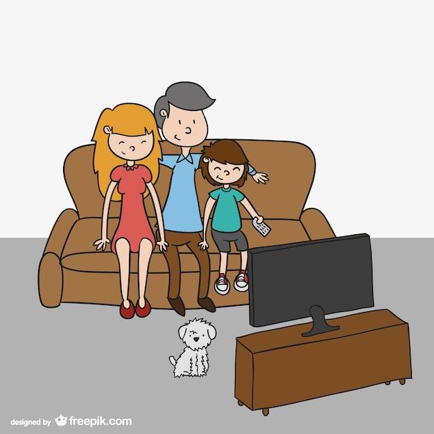 Rodzina oglądania tv kreskówka Darmowych Wektorów