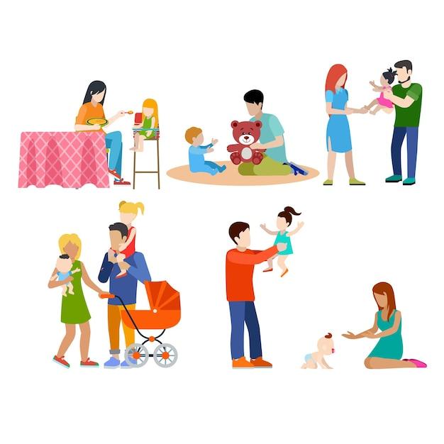 Rodzina Opieka Nad Dziećmi Opieka Nad Dziećmi Młodych Ludzi Rodzice Rodzicielstwo Para Zestaw Ikon Infographic Koncepcja Sieci Web. Darmowych Wektorów