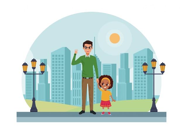 Rodzina Pojedynczy Ojciec Z Małym Dzieckiem Kreskówki Premium Wektorów