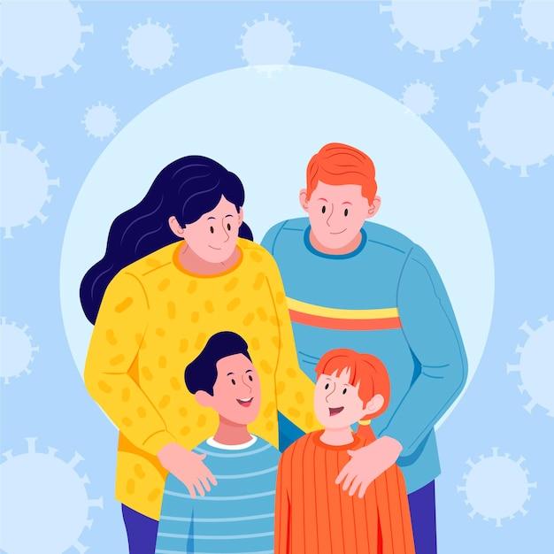 Rodzina Pozostając Razem I Chroniąc Się Premium Wektorów