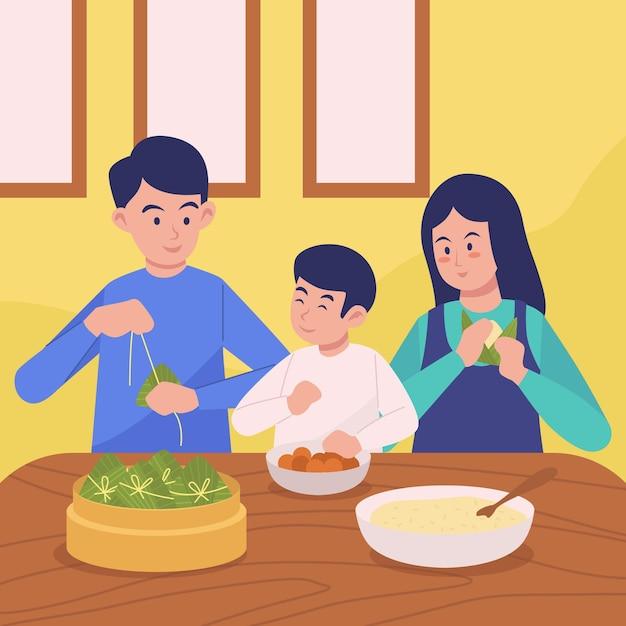 Rodzina Przygotowuje I Je Ryż Zongzi Darmowych Wektorów