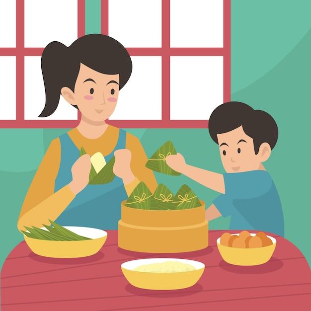 Rodzina Przygotowuje I Je świąteczne Zongzi Darmowych Wektorów