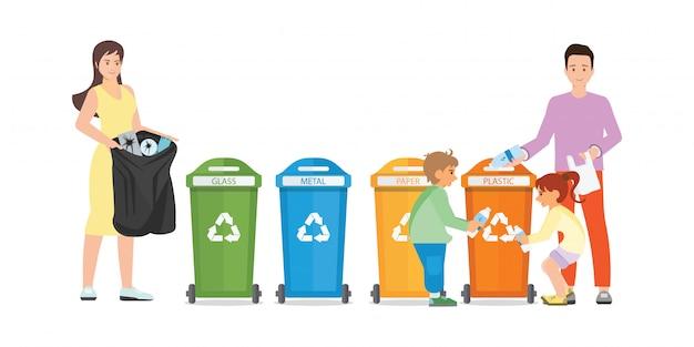 Rodzina Sortuje śmieci W śmieciarskiego Poborcy Dalej Na Białym Tle. Premium Wektorów