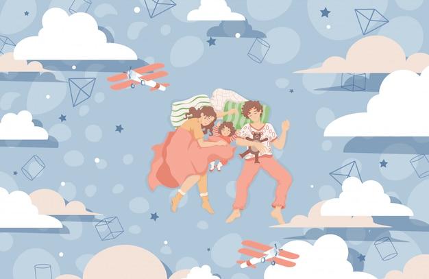 Rodzina śpi Razem Na łóżku I Marzy Płaską Ilustrację. Szczęśliwa Rodzina Spędza Razem Czas. Premium Wektorów