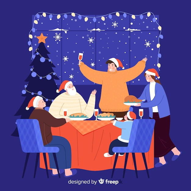 Rodzina spożywająca świąteczny obiad razem Darmowych Wektorów