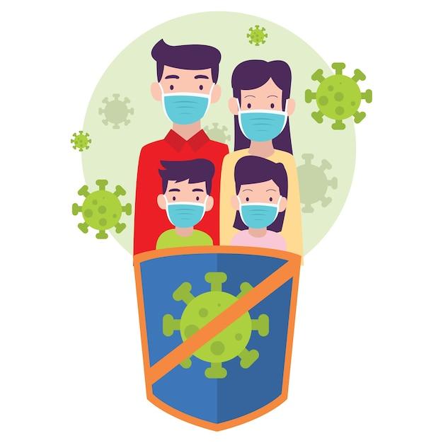 Rodzina Stara Się Zachować Zdrowie, Aby Nie Zarazić Się Rozprzestrzeniającym Się Wirusem Premium Wektorów