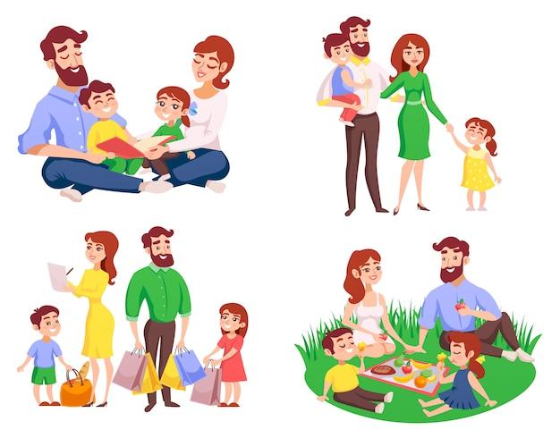 Rodzina Stylu Retro Kreskówka Zestaw Darmowych Wektorów