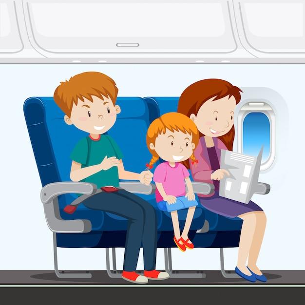 Rodzina w samolocie Premium Wektorów