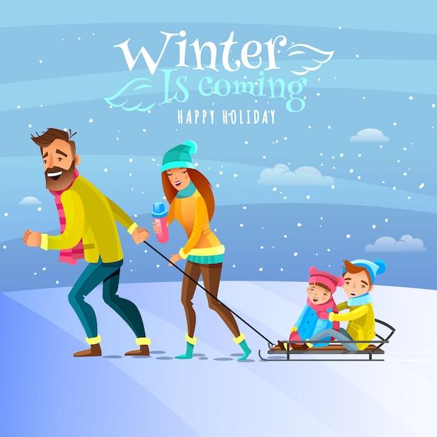 Rodzina w sezonie zimowym ilustracja Darmowych Wektorów