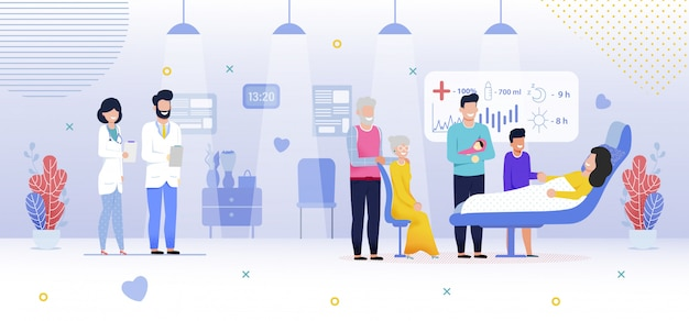 Rodzina W Szpitalu, Nowonarodzona Dziewczynka, Mieszkanie Premium Wektorów