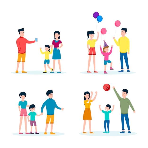 Rodzina Wspólnie Spędza Czas Darmowych Wektorów