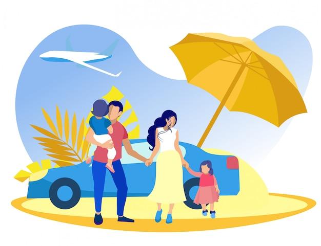 Rodzina Z Chłopcem I Dziewczynką Na Plaży Pod Parasolem. Premium Wektorów
