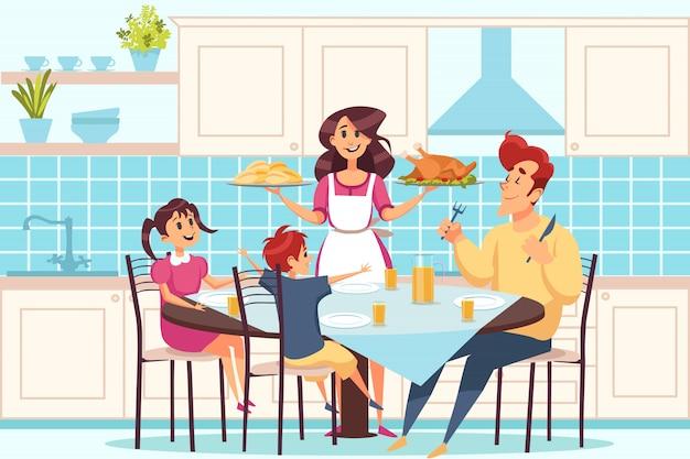 Rodzina z dziećmi siedzi przy łomotać stół, ludzie ma obiadowego pojęcie wpólnie Premium Wektorów