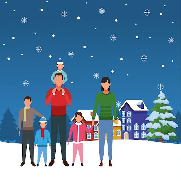 Rodzina z małymi dziećmi w śnieżnym krajobrazie Premium Wektorów