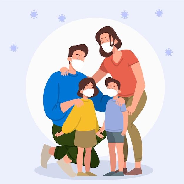 Rodzina Z Maskami Medycznymi Chronionymi Przed Wirusem Premium Wektorów