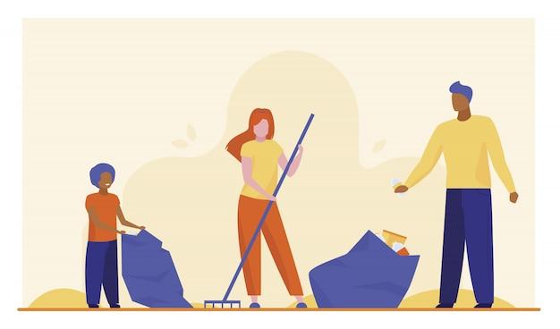 Rodzina Zbiera śmieci Na Zewnątrz Darmowych Wektorów