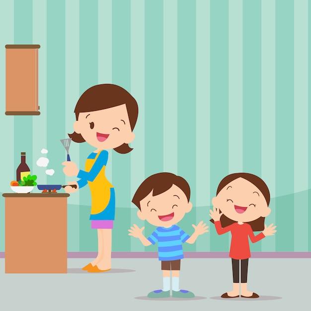 Rodzinna kuchnia bądź szczęśliwa Premium Wektorów