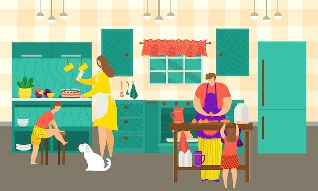 Rodzinne Gotowanie W Kuchni W Domu, Ilustracja. Postać Kobiety Mężczyzna Robi Jedzenie I Posiłek Dla Chłopca Dziewczyny Razem. Szczęśliwa Córka, Syn, Dziecko I Tata Gotują Obiad Przy Stole W Domu. Premium Wektorów