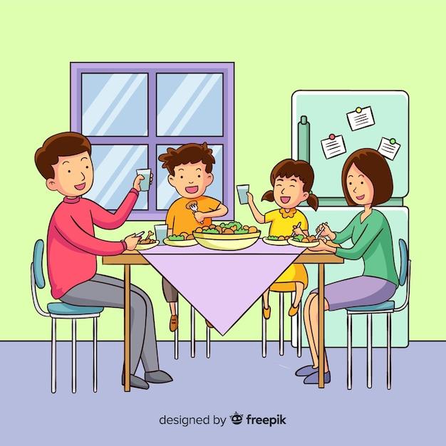 Rodzinne Jedzenie Darmowych Wektorów