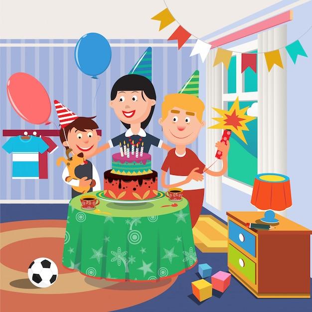 Rodzinne przyjęcie urodzinowe. szczęśliwa rodzina świętuje urodziny synów. chłopiec z psem Premium Wektorów
