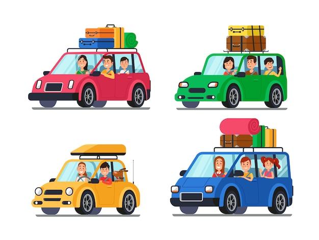 Rodzinne Samochody Podróżne Premium Wektorów