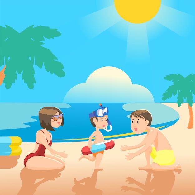 Rodzinne Spędzanie Czasu Na Letniej Plaży. Premium Wektorów