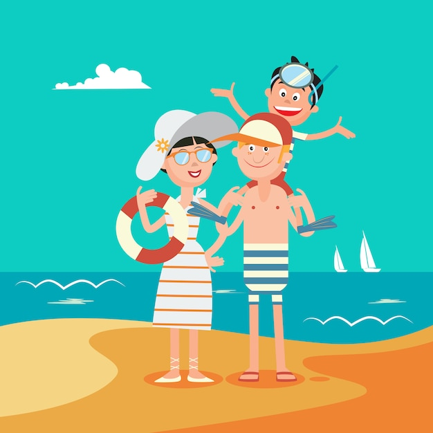Rodzinne Wakacje. Szczęśliwa Rodzina Nad Morzem. Ilustracji Wektorowych Premium Wektorów
