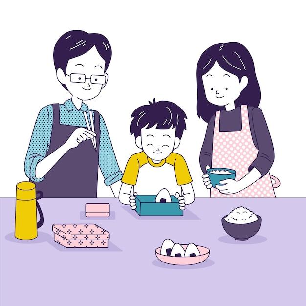 Rodzinne Wspólne Gotowanie W Kuchni Darmowych Wektorów