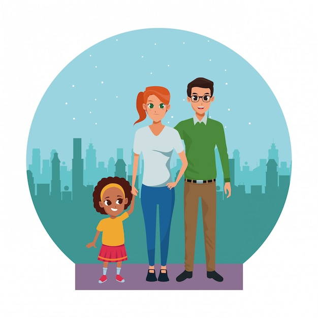 Rodzinni Młodzi Rodzice Z Małym Dzieckiem Premium Wektorów