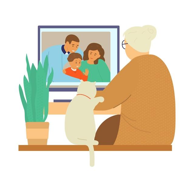 Rodzinny Czat Wideo. Babcia Rozmawia Z Rodziną Córki Przez Wideokonferencję. Premium Wektorów