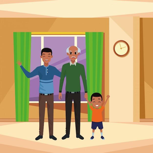 Rodzinny Ojciec I Dziadek Ręka Z Afro Chłopcem Premium Wektorów