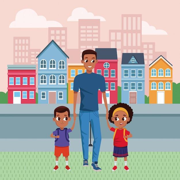 Rodzinny Samotny Rodzic Z Kreskówki Dla Dzieci Premium Wektorów
