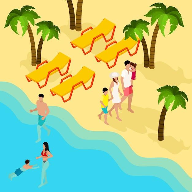Rodzinny tropikalny plaża wakacje izometryczny baner Darmowych Wektorów