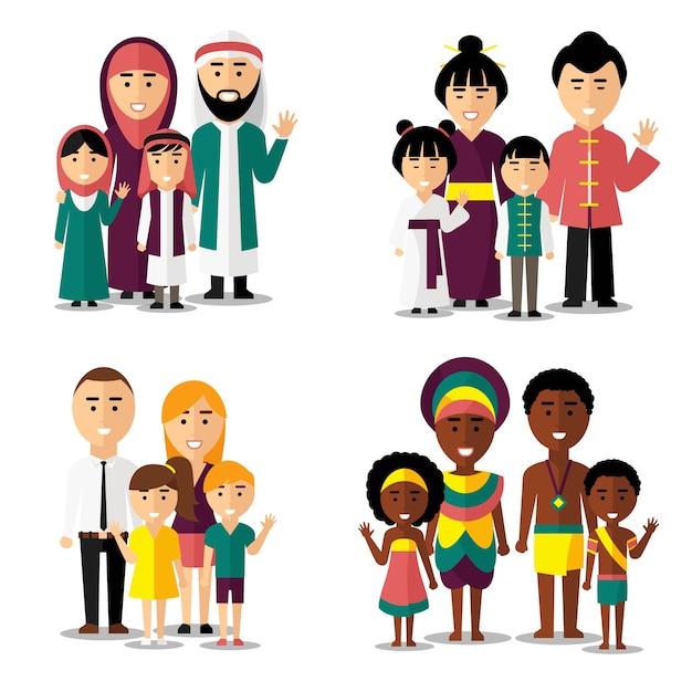 Rodziny Afrykańskie, Azjatyckie, Arabskie I Europejskie. Rodzina Azjatycka, Rodzina Afrykańska, Rodzina Europejska, Rodzina Azjatycka. Zestaw Ikon Znaków Ilustracji Wektorowych Darmowych Wektorów