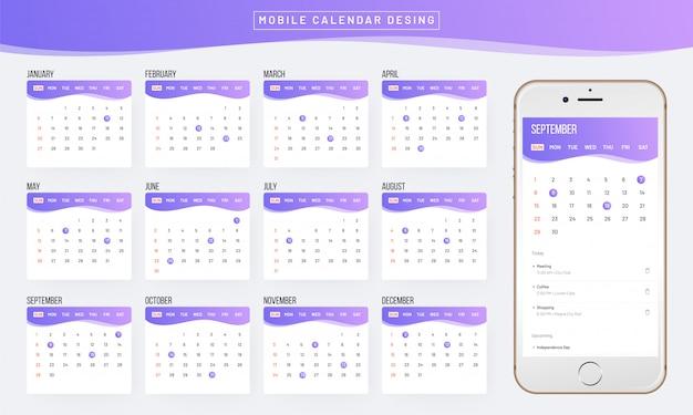Rok 2019, projekt kalendarza. Premium Wektorów