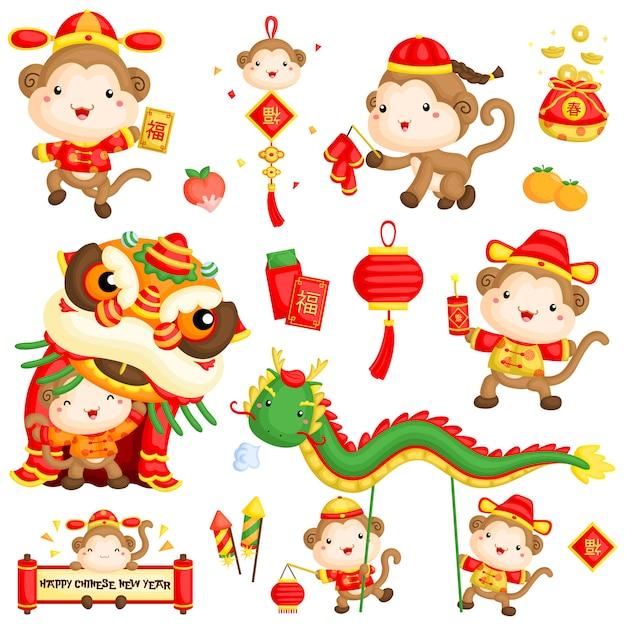 Rok chiński małpa nowy rok Premium Wektorów