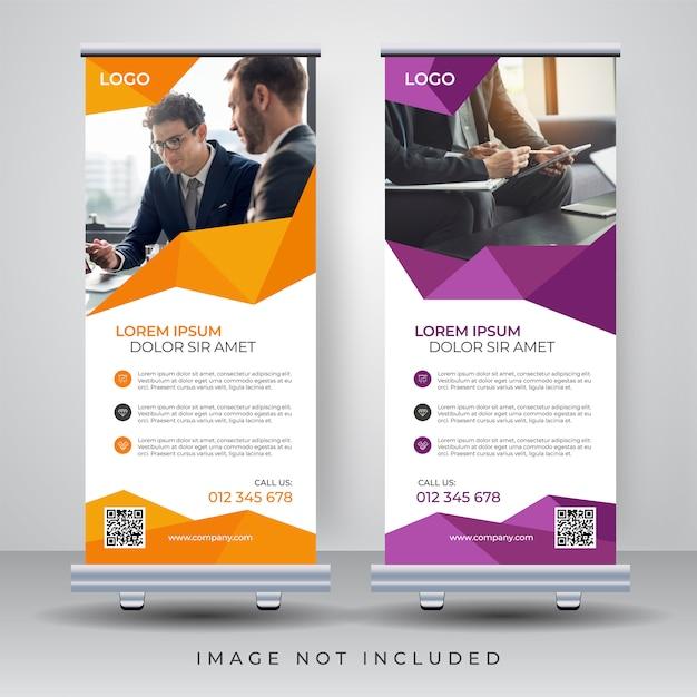 Roll up banner design template Premium Wektorów