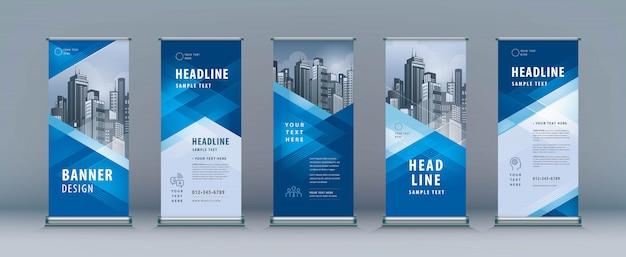 Roll up set. standee design. szablon transparentu, trójkąt geometryczny Premium Wektorów