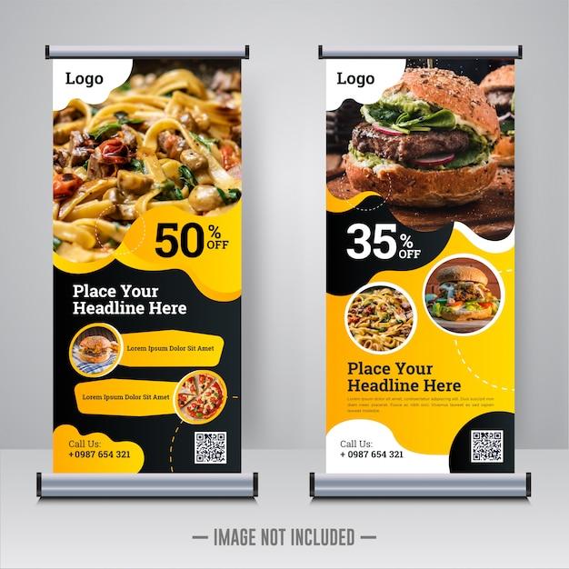 Rollup żywności i restauracji lub szablon projektu xbanner Premium Wektorów
