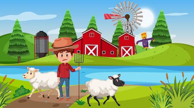 Rolna Scena Z Rolnikiem I Owcami Na Wzgórzu Premium Wektorów
