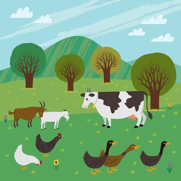 Rolnictwo / Gospodarstwo Wypełnione żywym Inwentarzem, Takim Jak Krowy, Kozy, Kurczaki I Kaczki. Premium Wektorów