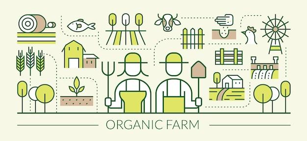 Rolnictwo, Rolnicy, Plantacje, Ogrodnictwo Premium Wektorów