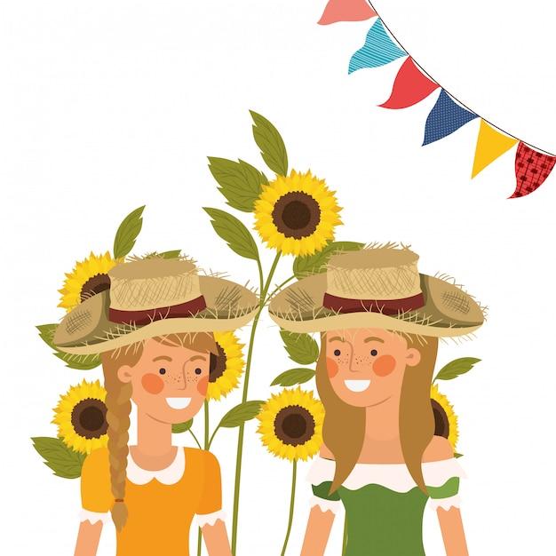 Rolnicy kobiety rozmawiają ze słomianym kapeluszem Darmowych Wektorów