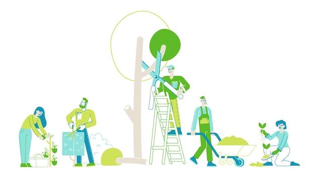 Rolnicy Lub Ogrodnicy Sadzą Przycinanie I Pielęgnację Drzew I Roślin Premium Wektorów