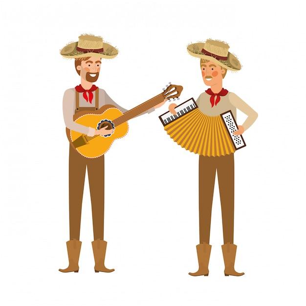 Rolnicy mężczyźni z instrumentami muzycznymi Premium Wektorów
