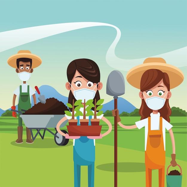 Rolnicy Noszący Maski Medyczne Sceny Premium Wektorów