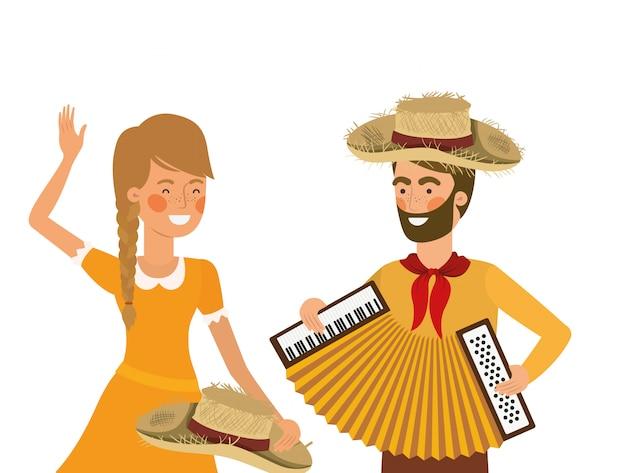 Rolnicy para z instrumentem muzycznym Premium Wektorów